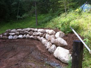 Granite retaining wall project